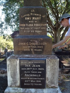 Balmoral 6/196, a large monument featuring inscriptions on the sides of an obelisk for Amy Mary (pictured), John Clark (pictured), Ina Jean (pictured), Archibald (KIA France 30/5/18 - pictured, not buried here), John Frederick (late 41 Batt) and Hilda May Donaldson. A significant family plot.
