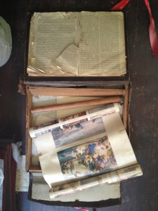 Bible and Scroll Illustrating Old and New Testament Stories Before Restoration